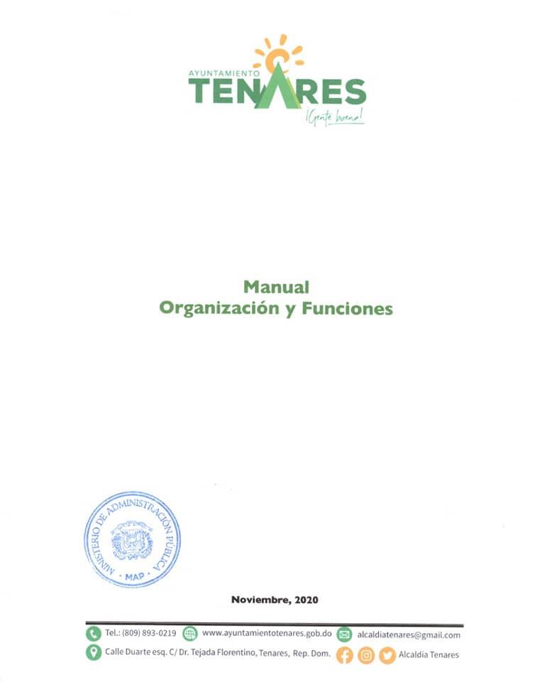 APROBACIÓN DEL MANUAL  ORGANIZACIÓN Y FUNCIONES